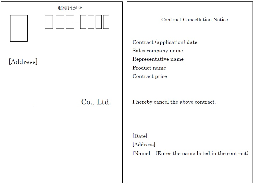 Postcard [Address] ____________ Co., Ltd.  Contract Cancellation Notice Contract (application) date Sales company name Representative name Product name Contract price I hereby cancel the above contract. [Date] [Address] [Name]  (Enter the name listed in the contract)